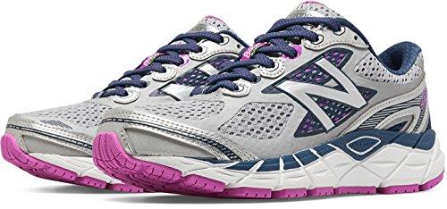New Balance Women's W840V3 Running Shoe,Silver/Navy,8 B US