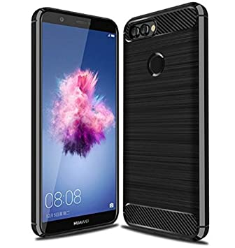 più foto d6f4a 10edc SDTEK Case for Huawei P Smart [ULTRA LIGHTWEIGHT] Slim Shockproof  [Silicone+Carbon Fibre TPU] Cover for Huawei P Smart