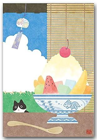 Amazon 夏のイラストポストカード かき氷 風鈴絵葉書 暑中見舞い