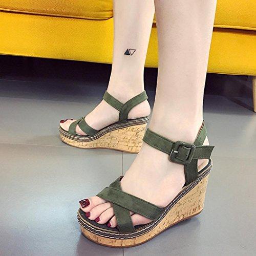 HUHU833 Women Fish Mouth Platform High Heels Wedge Buckle Slope Sandals 9.5cm Green NxOBtZm