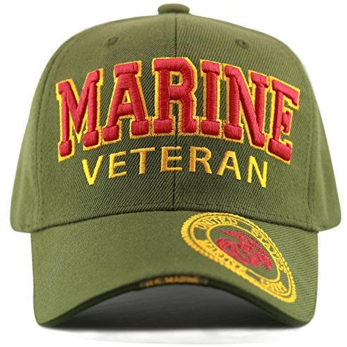 Logo Cap Olive - THE HAT DEPOT 1100 Official Licensed Military 3D Embroidered Logo Veteran Cap (Marine-Olive)