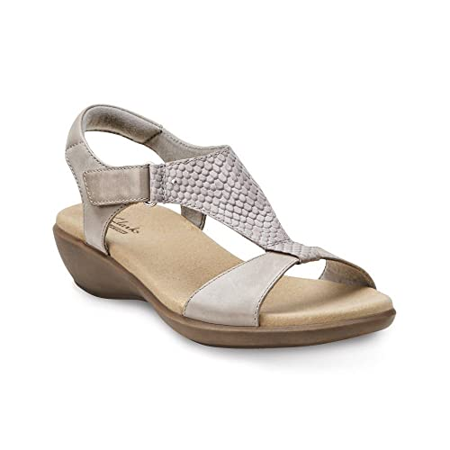 b7f16e505845 Clarks Women s Roza Pine Grey Leather T Strap Sandals (7 M