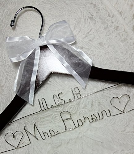 Wedding Dress Hanger choice of 12 Bow Colors - Personalized Bride Name Silver wire - Dark Wood Bridal Bridesmaid Gift With or Without Wedding date