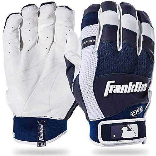 Franklin Sports MLB X-Vent Pro Batting Gloves, White/Navy Adult X-Large