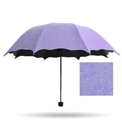BiuTeFang Paraguas Flores paraguas sombrilla paraguas de vinilo protección UV paraguas plegable paraguas mujeres 64x90cm