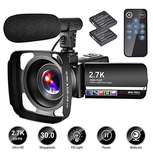 Video Camera Camcorder with Microphone YouTube Camera Recorder 2.7K Ultra HD 20FPS 30.0MP 18X Digital Zoom 3.0″ LCD Touch Screen Vlogging Camera