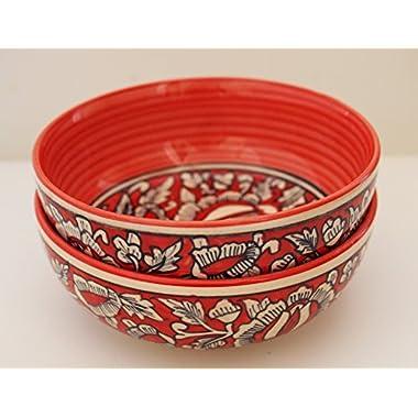 Guddé Set of 2 Handmade Ceramic Bowls (Medium 7.5  Red)