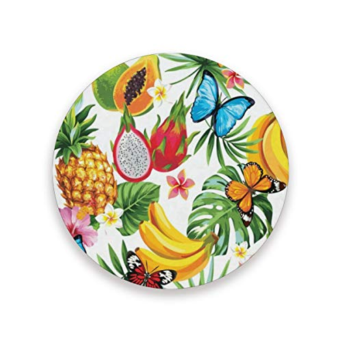 Coasters Summer Tropical Bananas Pineapples Butterfly Round Cup Mat for Drink Cup Pad for Home/Office/Kitchen/Bar Set of 1/2/4