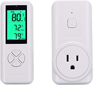 DIGITEN Wireless Thermostat, Temperature Controller Outlet Remote Control Built in Temp Sensor Thermometer 3 Prong Plug Heating Cooling Mode for Fan Heater Greenhouse