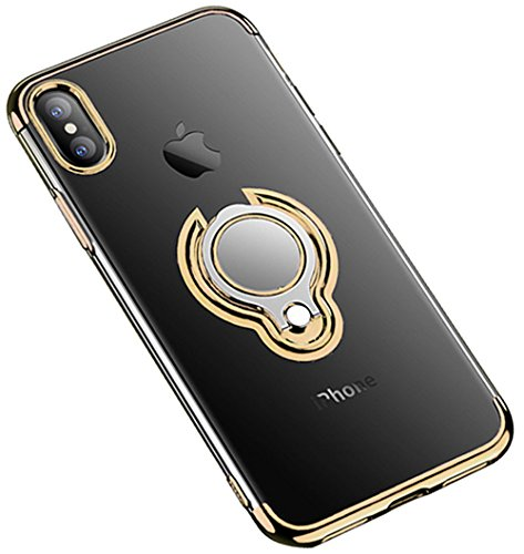 iPhone Xs Max XR Case Crystal Clear Soft Slim Ring Holder Kickstand Back Cover (iPhone Xs 5.8inch, Gold)