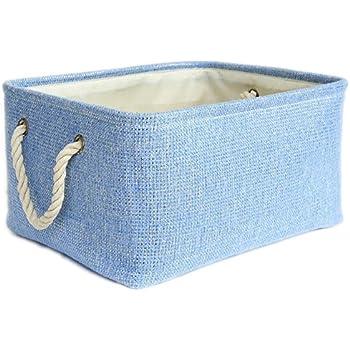 Large Blue Basket Rectangular Lined Storage Basket for Baby Toy Basket Decorative Fabric Bin Toy Storage  sc 1 st  Amazon.com & Amazon.com: TheWarmHome Collapsible Rectangle Fabric Bin Storage ...