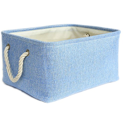 Gift Blue Basket (TheWarmHome Large Blue Basket Rectangular Lined Storage Basket for Baby Toy Basket Decorative Fabric Bin Toy Storage Bin,15.7×11.8×8.3inch)