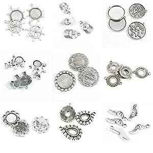 34 piezas de abalorios de plata envejecida para hacer joyas de béisbol con base de cabujón en blanco redonda 14 mm 12 mm elefante ajuste Virgo Rudder