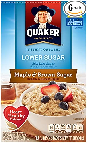 Quaker Instant Oatmeal Lower Sugar Maple Brown 10 Count 1 19oz Bo