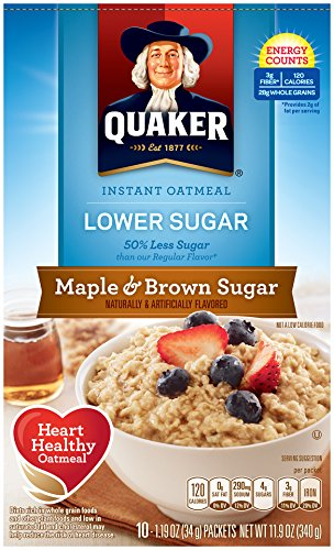 Instant Oatmeal Maple Brown Sugar (Quaker Instant Oatmeal Lower Sugar Maple & Brown Sugar, 10-Count 1.19oz  Boxes (Pack of 6))