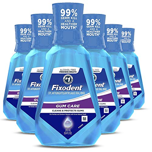 Fixodent Gum Care Oral Rinse, Cleans and Protects Gums Of Denture Wearers, 6 Count