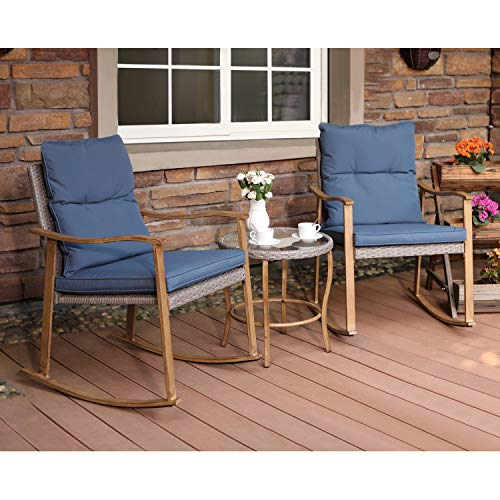 Glass Tops Wood Furniture - COSIEST 3-Piece Outdoor Patio Furniture Faux Woodgrain Rocking Chairs w Cobalt Blue Cushions & Round Glass-Top Table Bistro Set for Garden, Pool, Backyard