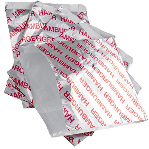 - Retro, Grease Proof Burger Wrappers 50 Pk. Great BPA Free Cookout Supply. Pro Quality Bulk Hamburger Bags Are Large and Insulated. Allergen Friendly BBQ Foil Paper Perfect For Baseball Themed Party.