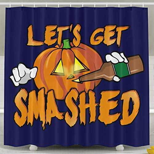 HITRYEFG Let's Get Smashed Halloween Pumpkin Drinking Beer Shower Curtain with Hooks