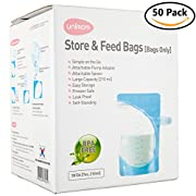 50 Breast Milk and Food Storage Bags - Breast Shield Adapter to Pump Directly into Bag - Freezer Safe, BPA Free, Leak Proof - by Unimom