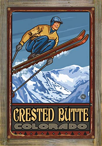 Northwest Art Mall Crested Butte Colorado Ski Jumper Rustic Metal Print on Reclaimed Barn Wood by Paul A. Lanquist (12