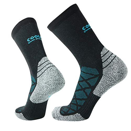 COOLMAX Brand 5 pairs Performance compression crew flat light socks for Men & Women (15-20 mmHg) Socks (Medium, CMF8S)