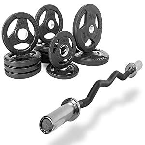 "XMark Fitness Combo Offer 47"" Olympic EZ Curl Excercise Bar with Premium Quality Rubber Coated Tri Grip Olympic Plate Weight Package"