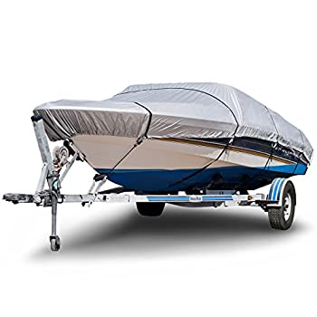 Image of Budge B-150-X8 150 Denier V-Hull Boat Cover Silver 24'-26' Long (Beam Width Up to 106') Lightweight, UV Resistant