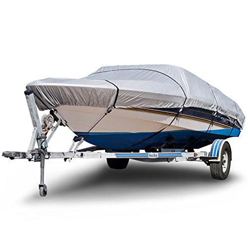 - Budge 150 Denier Boat Cover fits V-Hull Runabout Boats B-150-X5 (17' to 19' Long, Silver)