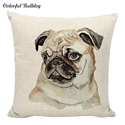 Amazon.com: New Cushion Cover Dog Pugs Printied Linen Throw ...