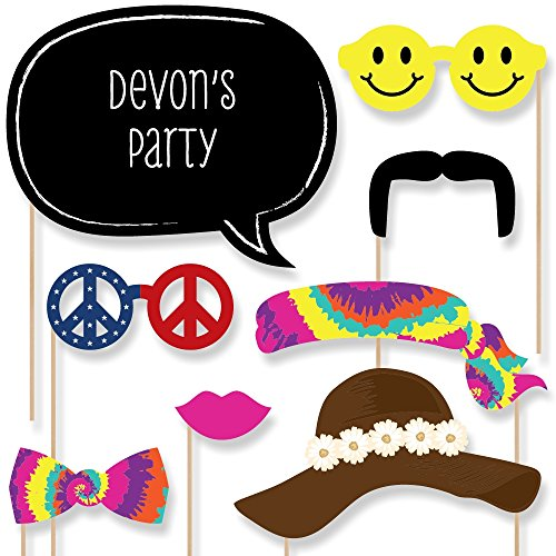 (Custom 60's Hippie Photo Booth Props Kit - Personalized 1960s Groovy Party Supplies - Sixties Hippie Party Accessories - 20 Selfie)