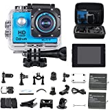 HD 1080P WiFi Underwater Camera Waterproof Diving 98ft 170 Degree Wide Angle 2.0 inch LCD Display Action Cam with 2PCS Battery and Outdoor Accessories Kits, Helmet Cam Bicycle Action Camera for Biking, Riding, Racing, Skiing, Motocross and Water Sports (Blue)