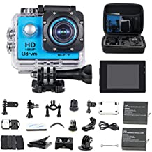 HD 1080P WiFi Underwater Camera Waterproof Diving 98ft 170 Degree Wide Angle 2.0 inch LCD Display Action Cam with 2PCS Battery and Outdoor Accessories Kits, Helmet Cam Bicycle Action Camera for Kids, Biking, Riding, Racing, Skiing, Motocross and Water Sports (Blue)