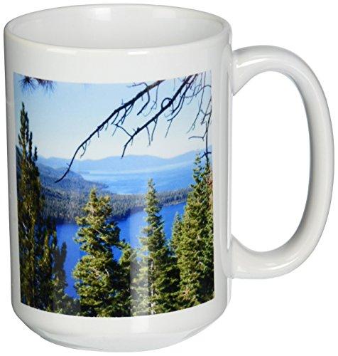 3dRose Fallen Leaf Lake and Lake Tahoe South Shore Ceramic Mug, 15-Ounce
