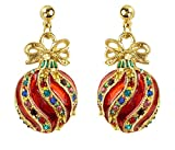 Bejeweled Christmas Red Fancy Ornament Earrings 91