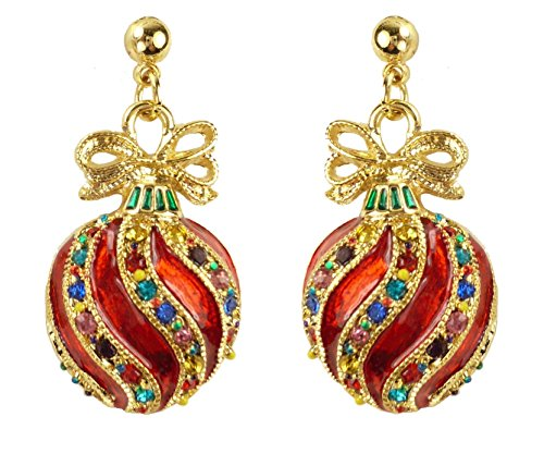 - Bejeweled Christmas Red Fancy Ornament Earrings 91