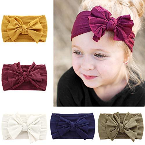 (DRESHOW BQUBO 5 Pieces Baby Turban Hats Turban Bun Knot Baby Infant Beanie Baby Girl Soft Cute Toddler Cap (5 Pack Bow Nylon B / 3 Month - 6)