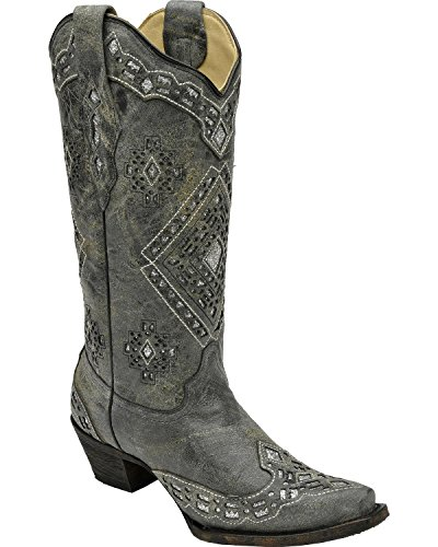 Corral Dames Glitter Inlay Cowgirl Laars Knip Toe Teen - A2963 Black Distressed