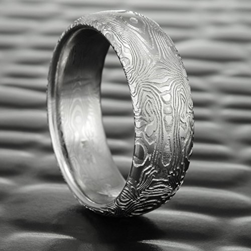 Half Round Damascus Steel Wedding Band | BOOKMATCHED