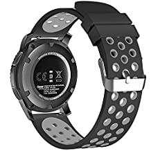 22mm Universal Smart Watch Bands, FanTEK Soft Silicone Sport Quick Release Watch Strap Wristband for Pebble Time Steel/ Moto 360 for Men 2nd Gen 46mm/ Samsung Gear S3 Frontier/Classic--S Size