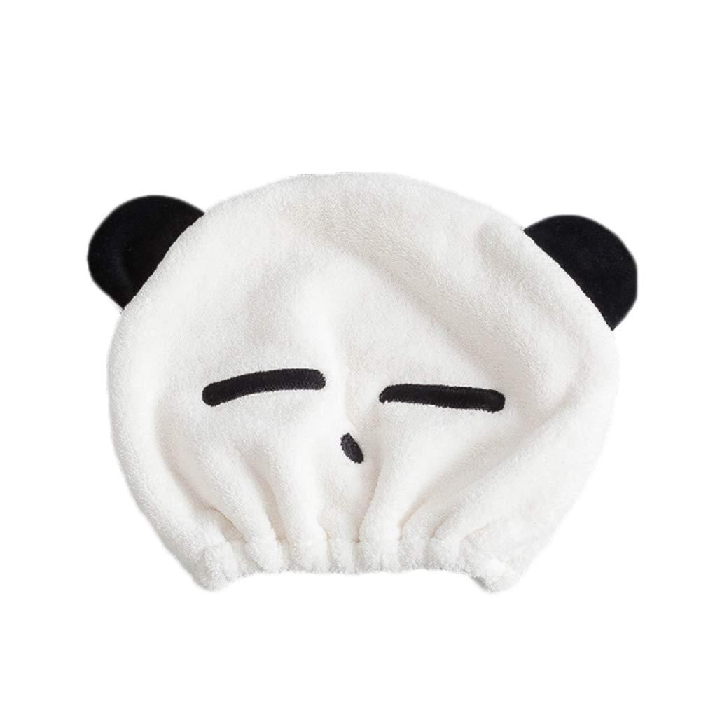 Depory Panda Toalla de Pelo Microfibra Turbante Suave Absorbentes de Agua Pelo Seco Sombreros con Bot/ón Wrap Turban Gorra de Secado r/ápido
