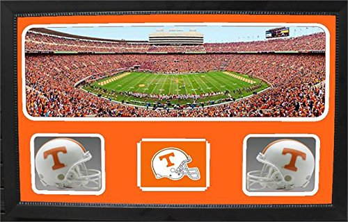 NCAA Tennessee Volunteers 657-11 Custom Framed Sports Memorabilia with Two Mini Helmets Photograph and Name Plate, by Encore