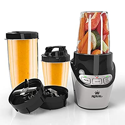 Royal Nutrition Power Blender [1000W] - Single Serve Blender, Tritan BPA Free Travel Bottle with Flip To-Go Lid and Tall 20 Oz Bottle, Smoothie Blender - Great for Shakes and Drinks (120W. 60Hz)