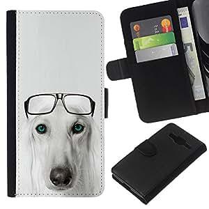 Stuss Case / Funda Carcasa PU de Cuero - Saluki Hound Dog Breed Glasses Persian - Samsung Galaxy Core Prime