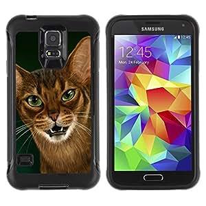 Suave TPU Caso Carcasa de Caucho Funda para Samsung Galaxy S5 SM-G900 / Cornish Rex Abyssinian Ocicat / STRONG