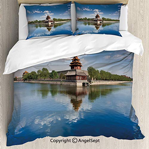 SfeatruAngel 3-Piece Bed Set Duvet Cover Set,Historical Architecture Imperial Palace Trees Sea Blue Sky Decorative,King Size,Lightweight Bedspread for Spring and Summer,Blue Green Brown
