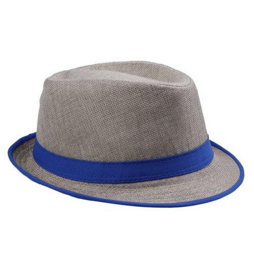 EOZY Women Mens Blue Neon Strip Festival Trilby Straw Boho Pork Pie Beach Hat