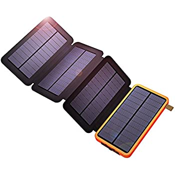 Solar Charger, X-DRAGON 10000mAh Solar Power Bank with Foldable Panel Power Bank Portable Rugged Shockproof Dual USB Solar Battery Charger for iPhone, Samsung Galaxy, ipad and More-Orange