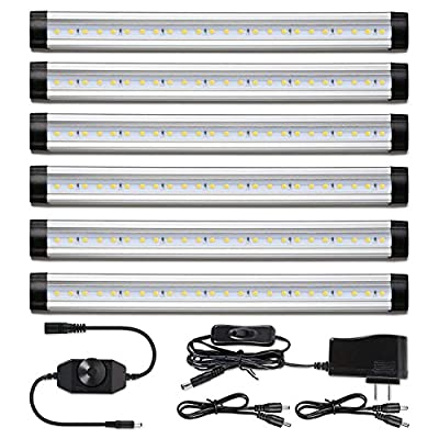 LED Under Counter Lighting Dimmable - Albrillo Under Cabinet Lighting for Kitchen Shelf, Super Bright Daylight White 4000K, 24W 2000 Lumen, 6 Pack
