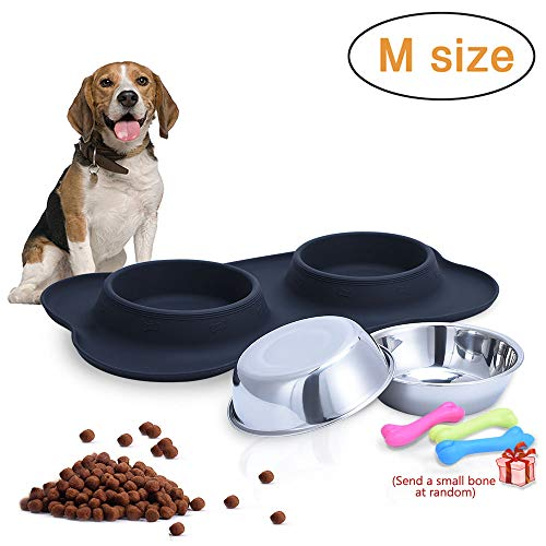 - Dog Bowls, RUN ANT Stainless Steel Dog Food Bowl with No Spill Non-Skid Resistant Silicone Mat Water and Food Feeder Bowls Pet Bowl for Small Medium Dogs Cats and Pets, Black
